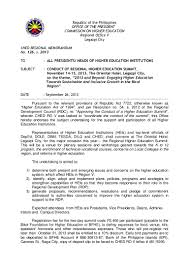 ched regional memo for regional higher education summit