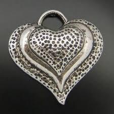 <b>10pcs Retro Silver</b> 33x30x5mm Heart Model Alloy Pendant Charm ...
