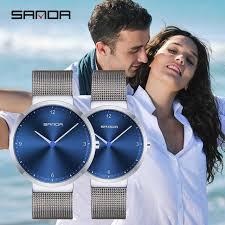 Couple <b>Watches SANDA</b> Full Steel Quartz Wrist <b>Men</b> Women Simple ...