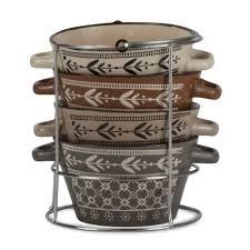 <b>Набор керамическиx супниц</b> Bellavita из <b>4</b> предметов на подставке