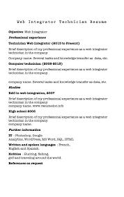 mechanical technician resume samples   good resume sampleresume web integrator samples