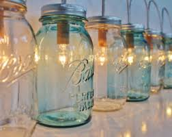 mason jar lamp banner style lighting fixture with antique blue and clear quart jars rustic wedding string of lights bootsngus lamps blue mason jar string lights