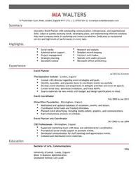 event planner cv example for marketing   livecareerall cv    s and cover letters are  able as adobe pdf  ms word doc  rich text  plain text  and web page html formats  click to enlarge image