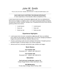 resume  best proper resume template for job seeker proper    proper resume for certified technician specialist   experience highlights and work history