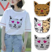Pinkdose® <b>1Pc Cute Cat</b> Reversible Color Changing Sequins ...