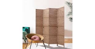 Artiss <b>4 Panel Room Divider</b> Screen Privacy Rattan Timber Foldable ...