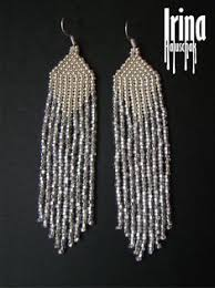 <b>Silver</b> earrings Beaded earrings Long <b>seed bead</b> earrings Native   Etsy