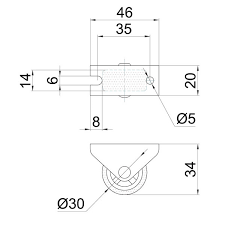 NF-05 <b>Колесо</b> мебельное D=30 мм <b>неповоротное на площадке</b> ...