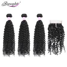 <b>Bigsophy</b> Brazilian Kinky Curly <b>Hair</b> 3 Bundles With Lace Closure ...