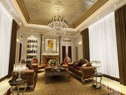 rooms design with brown white fabric curtain on the wide window and brown leather upholstered sofa above cream rugs also chic crystal chandelier hang on chic crystal hanging chandelier furniture hanging