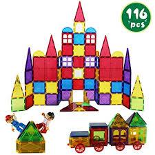 Romboss 116 Pcs Magnetic Tiles Set Includes 2 Cars ... - Amazon.com