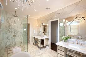 interior master bathroom decorating ideas with mirrored bathroom vanities sets and tempered glass shower rooms added illuminate vanity lights fixture bathroom vanities lighting fixtures