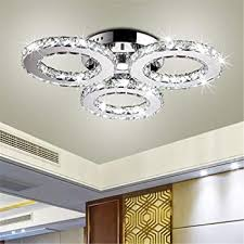 White, 12 Ladiqi <b>Crystal Round</b> LED Flush Mount <b>Ceiling Light</b> ...