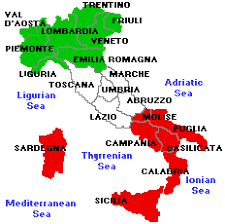 Image result for map of italy with regions