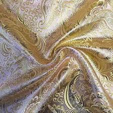 "Metallic Paisley Brocade Fabric 60"" By Yard in <b>Red</b> Yellow <b>White</b> ..."