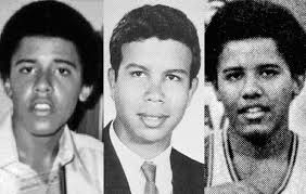 Exhibit 2: Mark Davis high school photo between two photos of Barack Obama (left and right) from Punahou High School - markdavis