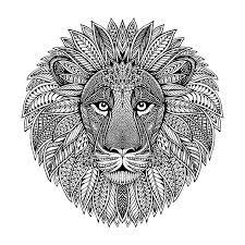Hand drawn graphic ornate head of <b>lion</b> with <b>ethnic</b> floral doodle ...