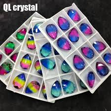 <b>QL Crystal</b> Tourmaline Glass Crystal 18x25mm Drops Pointback ...