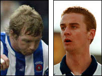 Ritchie Humphreys and Michael Barron. Humphreys is still playing for Pools (left) while Barron (right) is now a coach at Victoria Park (Getty) - _44424963_humpbarron_203_getty