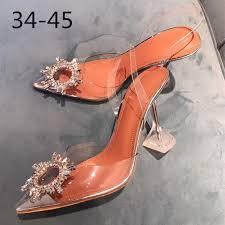34 45 PVC <b>Transparent</b> Crystal Shoes <b>2021 Summer New</b> Pointed ...