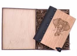 Блокнот WOODEN NOTEBOOK Слон 02 Деревянная обложка А6 ...