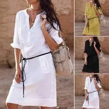 <b>S XL Woman</b> Casual Half Sleeve Buttons <b>V Neck</b> Mini Dress with ...