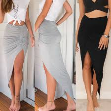 Skirts 2016 <b>New Fashion Womens Ladies</b> Ruched Side Split Slim ...