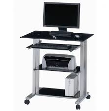 m black glass computer table top using white polished steel legs and wheels having two tier shelves with corner computer stands and home office computer black glass top corner
