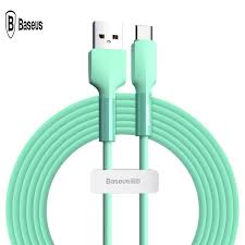 <b>BASEUS Silicone</b> Gel <b>USB</b> Type-C <b>Data</b> Sync Charging <b>Cable</b>, 2m