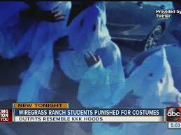 three florida hs students show up to school wearing kkk outfits three florida students suspended after showing up at high school wearing ku klux klan costumes nothing surprises me now