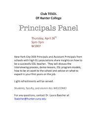 club tesol of hunter college principals panel