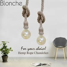 Vintage Hemp Rope <b>Pendant Lights Retro Loft</b> Industrial Hanging ...