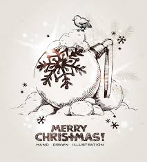 Рука нарисованные Рождество и новый год открытка с ...