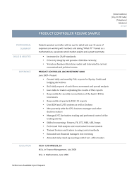 product controller resume sample and template product controller resume template