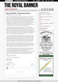 editorial writing dustin michels letter to the editor the parking problem the royal banner 28 2014 pdf png