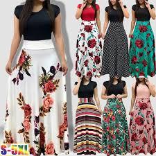Women Fashion <b>Floral Print</b> Dress Casual Short Sleeve <b>Elegant</b> ...