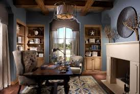 cozy color duo brown blue blue brown home office