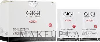 Влажные <b>салфетки</b> с кислотой - Gigi <b>Acnon</b> Triple Acid Rapid ...