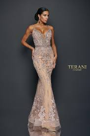 <b>V</b>-<b>Neck Spaghetti Strap</b> Lace Long Dress - 1922GL0681