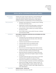social media coordinator resume samples tips and templates social media coordinator job description