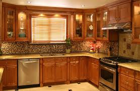 tidy traditional wood kitchen featuring kitchen cabinets hanged on wall wit glass door cabinets cabinet and lighting