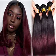 Amazon.com : <b>Ombre</b> Human Hair <b>Bundles T1B</b>/<b>99J</b> Two Tone ...