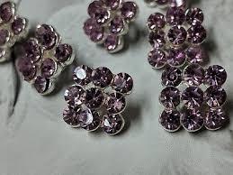 <b>Plum</b> Glass Rhinestones Square <b>Silver</b> Metal Buttons, 10 Novelty ...