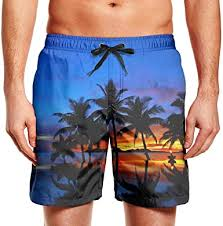 <b>Mens</b> Palm Tree Sunset Swim Trunks <b>Casual Beach Shorts</b> ...