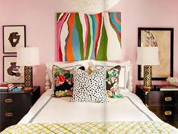 bedroom colorful painting closed simple lamp on black credenza inside artistic bedroom ideas with colorful artistic bedroom lighting ideas