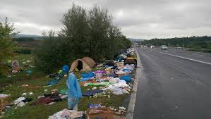 Image result for refugees trail of garbage across europe