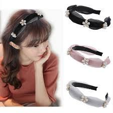 New <b>Korean</b> Mesh Pearl Flower Headband <b>Female</b> Small Fragrance ...