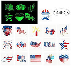 jollylife 4th/Fourth of July Tattoos - Glow in The Dark- <b>Patriotic</b> Party ...