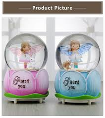 Cute <b>Flower Bud</b> Angel Automatic Floating Snow <b>Crystal</b> Ball Music ...