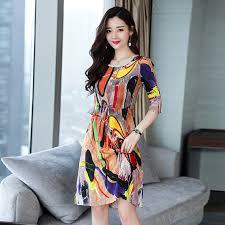 <b>New Summer</b> Slim Silk Print <b>Dress Women's Clothes</b> Vintage Style ...
